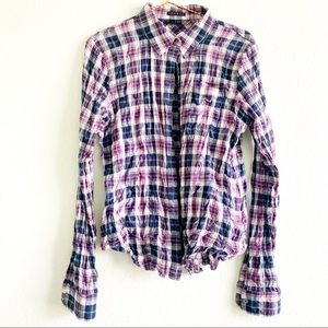 THEORY button down up plaid blouse shirt L top